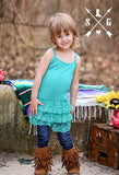 Kids Turquoise Ruffle Cami Slip Dress