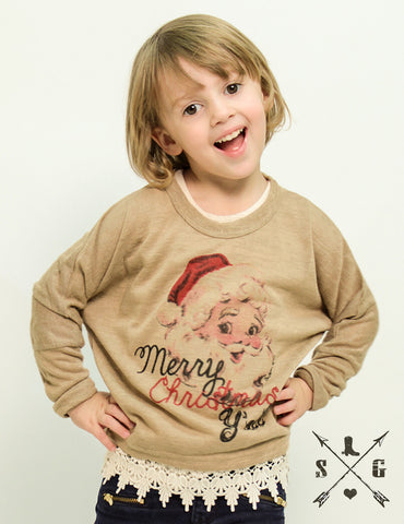 Kids Merry Christmas Y'all Tan Sweater with Lace Trim