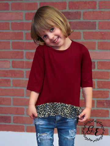 Riley's Dark Red Top with Cheetah Lace Trim Accents, Kids