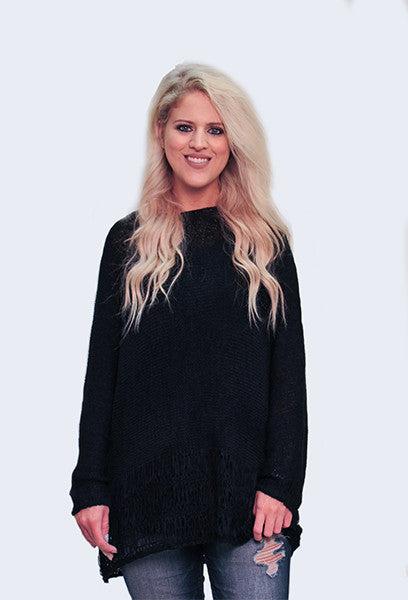Black Knit Sweater with Detailed Hem