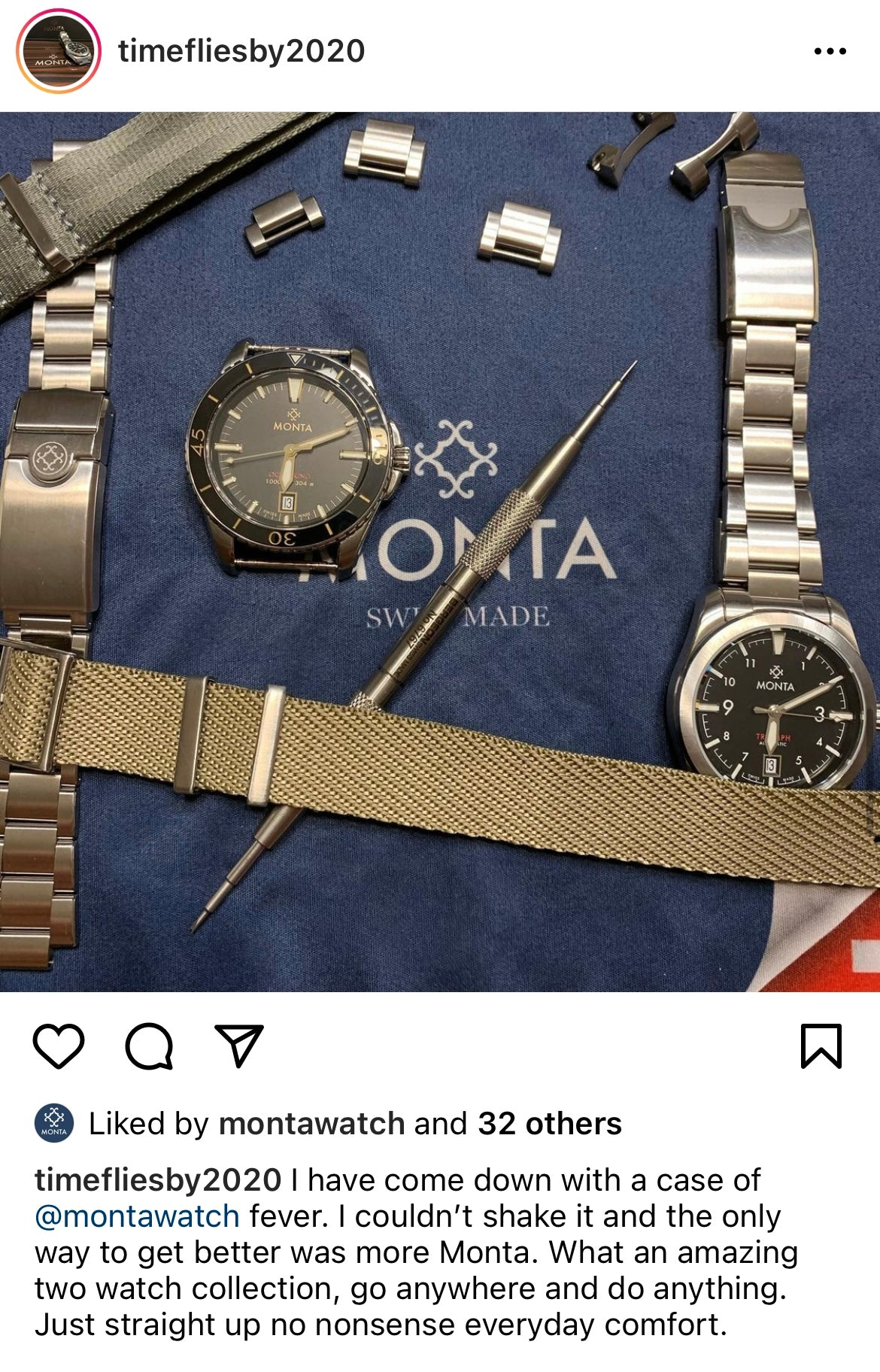 MONTA watch owners instagram page