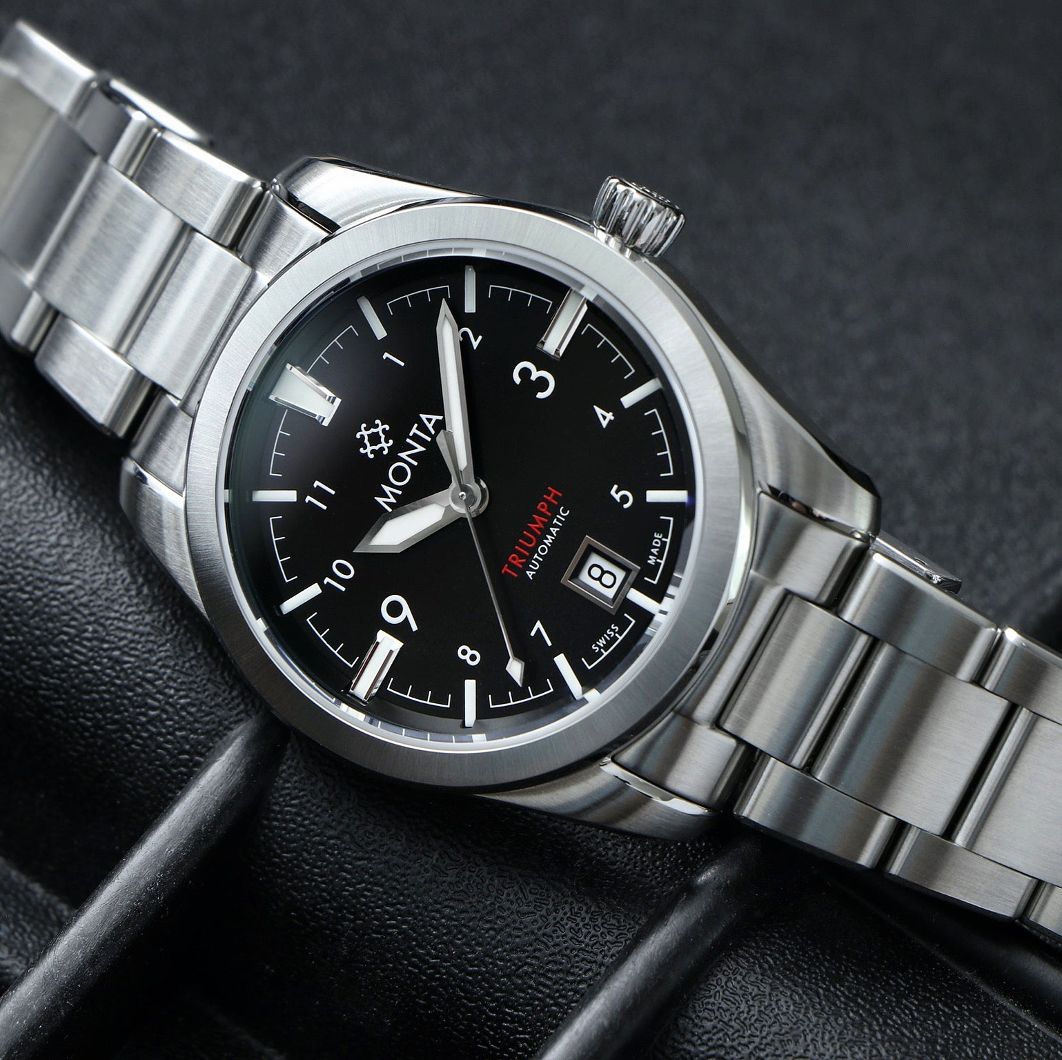 monta triumph watch with black dial