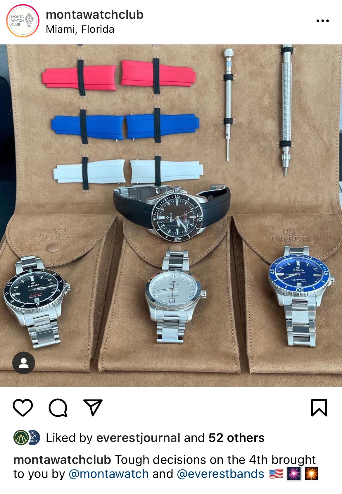 monta watch club instagram post showing everest portfolio for watches and strap