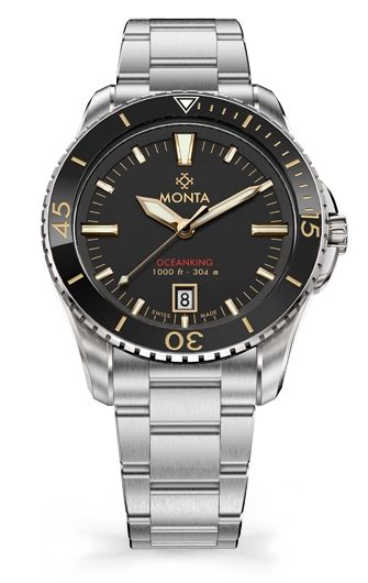 Monta Oceanking, 60-Minute Bezel, with Date, Gilt Dial, Ceramic Bezel