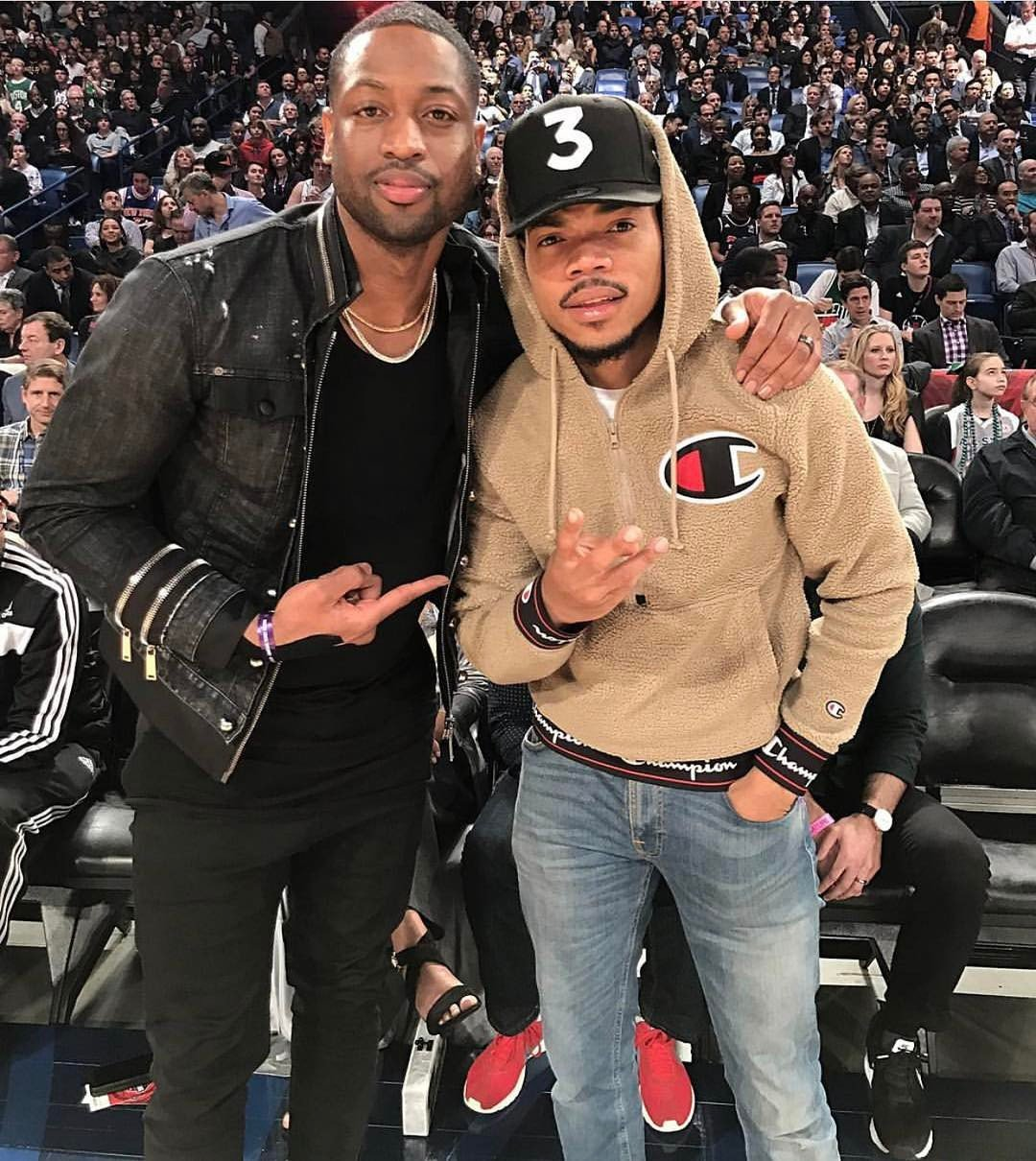 Dwyane Wade, pictured with Chance the Rapper, wearing Daniel Patrick low crotch skinny denim at the NBA All Star Game
