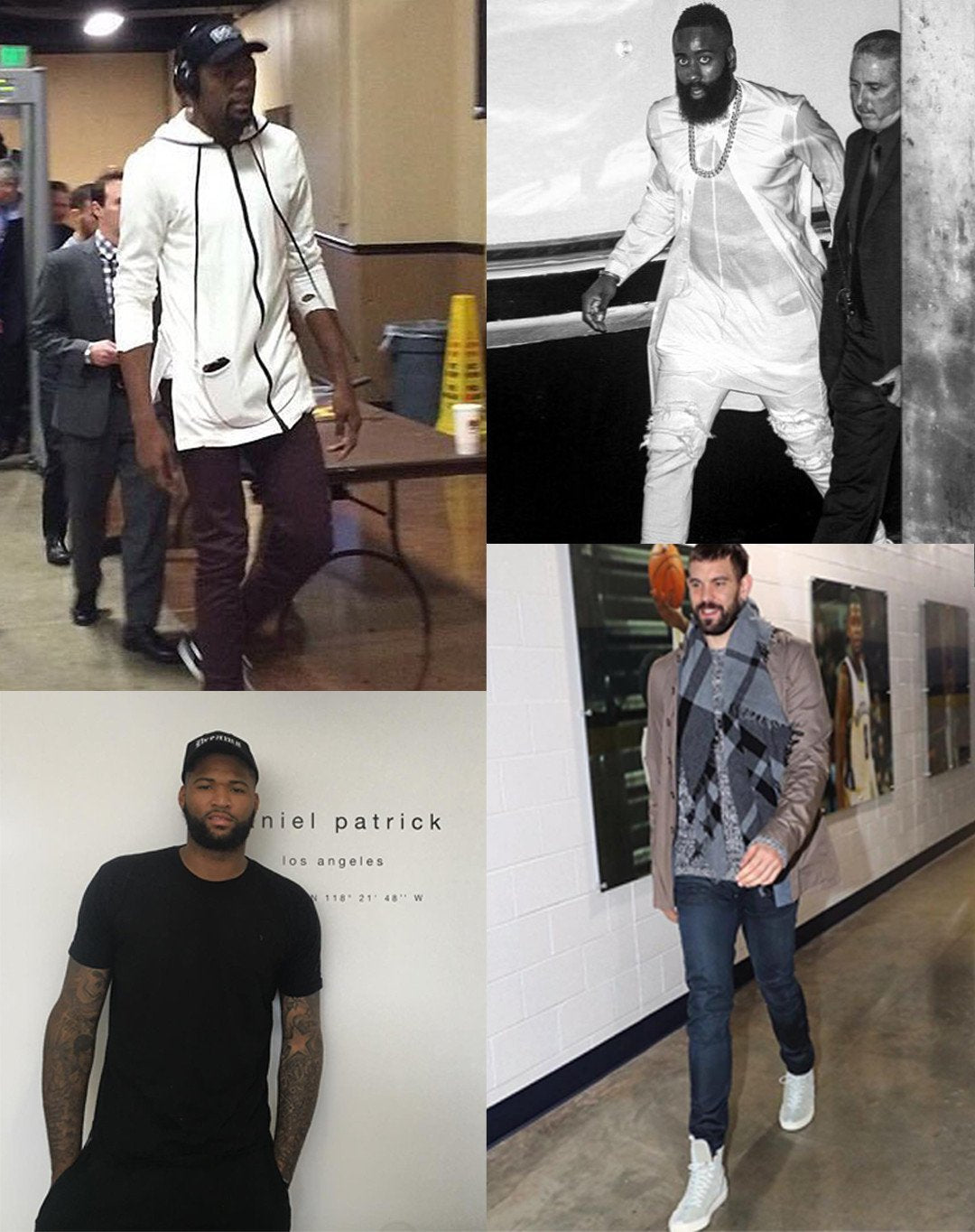 Kevin Durant in a daniel patrick roaming hood ii, James Harden in knomadik long tee, DeMarcus Cousins in knomadik at dp hq, Marc Gasol in sage high top roamers