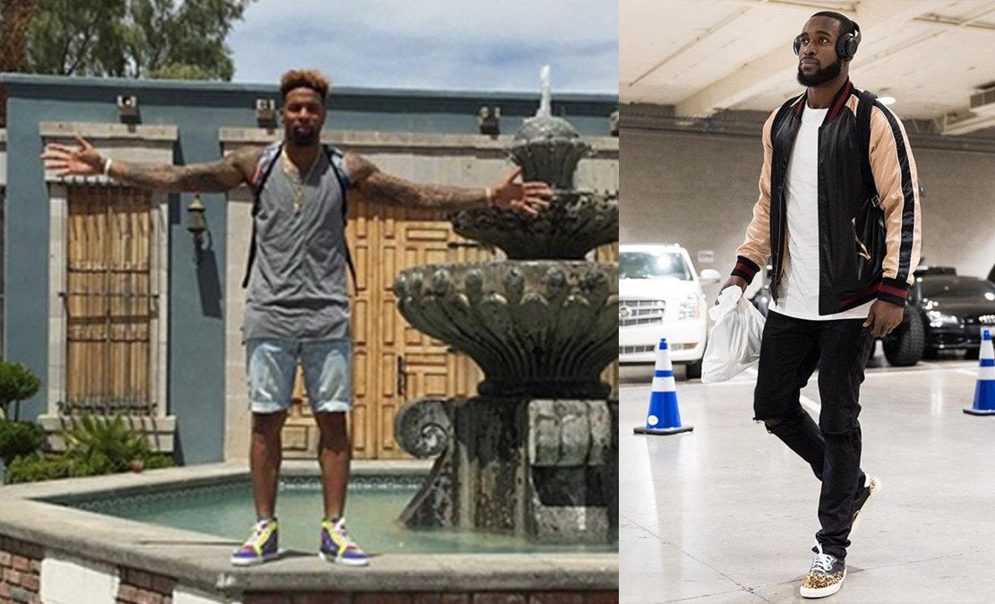 NY Giants receiver Odell Beckham Jr. wears a knomad loose tank, while Seahawks safety Kam Chancellor sports a pair of low crotch ripped skinny jeans