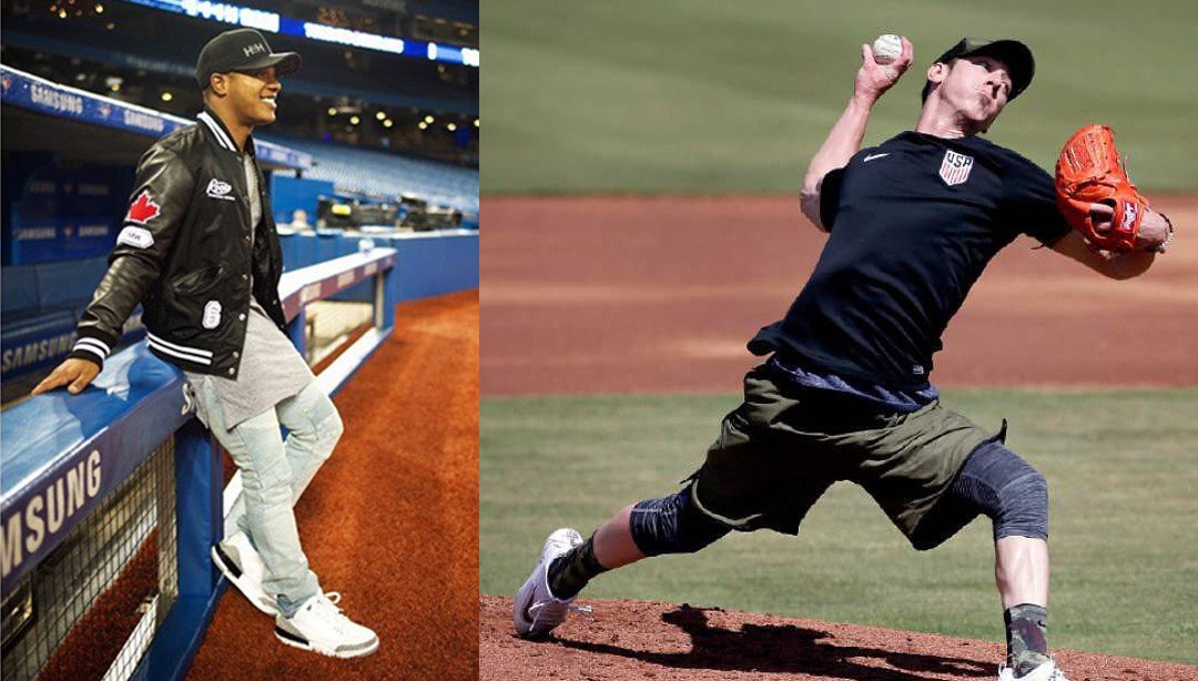 Marcus Stroman in purple grey loose tee, Tim Lincecum in army roaming short iii