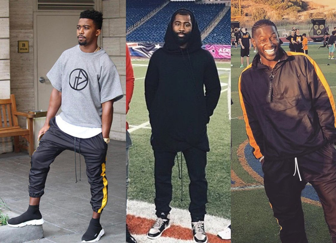 Bills quarterback Tyrod Taylor, Darrelle Revis and Antonio Brown in parachute track pants