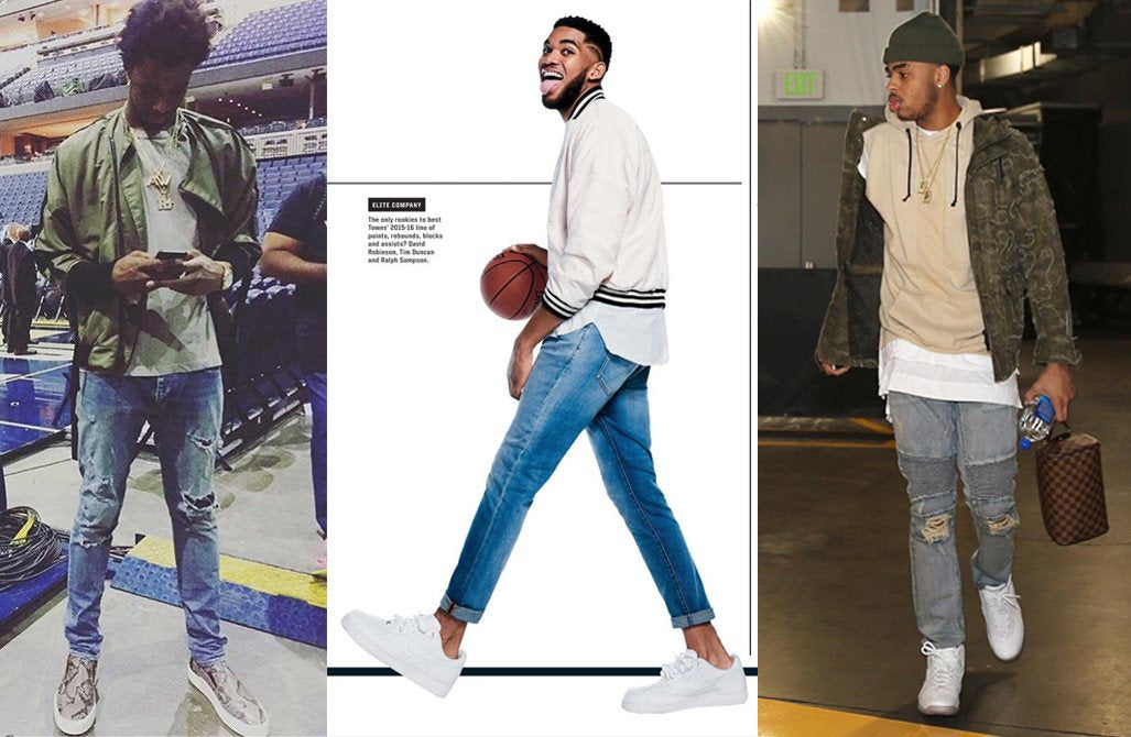 Topping it off: D'Angelo Russell layers a road hood sleeveless top in sand, Karl-Anthony Towns wears a t-raww hero bomber for ESPN magazine, Andrew Wiggins owns this army road bombe
