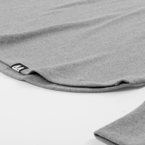 LS Curved Hem T-Shirt <br> Grey Melange