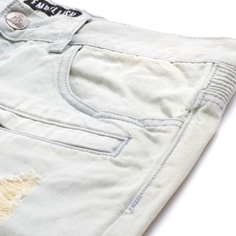 Italia Ripped Stone Wash Biker Denim