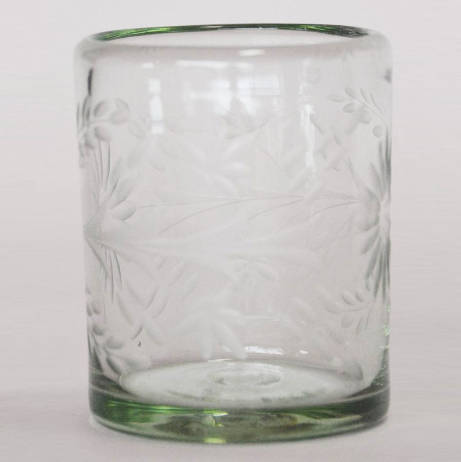 Hand Blown and Etched Glass - Old-Fashioned Glass