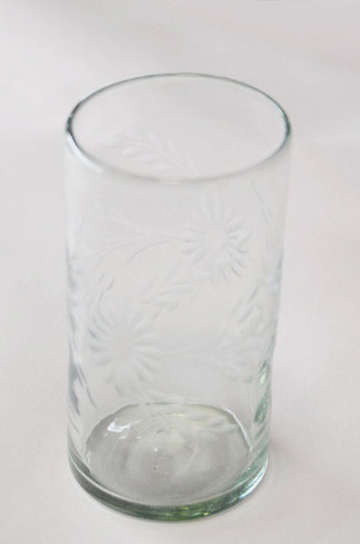 Hand Blown and Etched Glass - Highball glass
