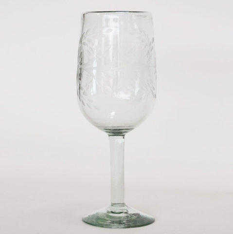 Hand Blown and Etched Glass - Oversized Goblet