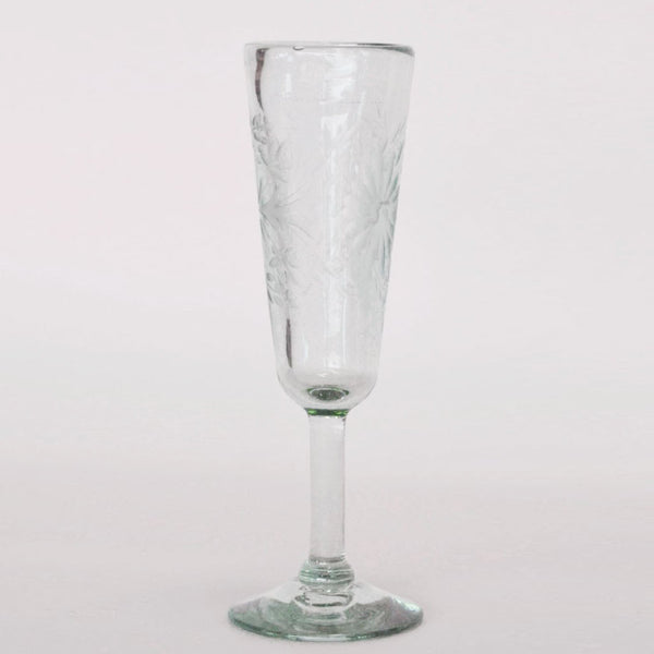Hand Blown and Etched Glass - Champagne Flute