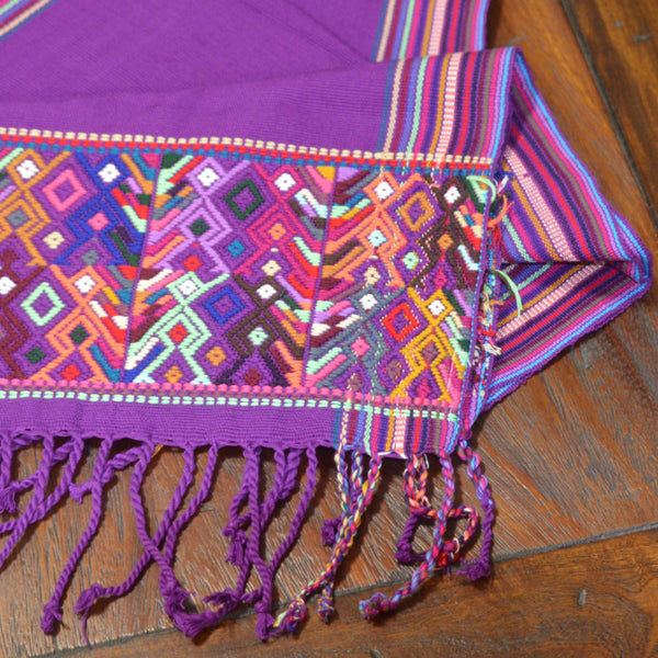 Textiles - Hand Embroidered Zacualpa Runner in Purple