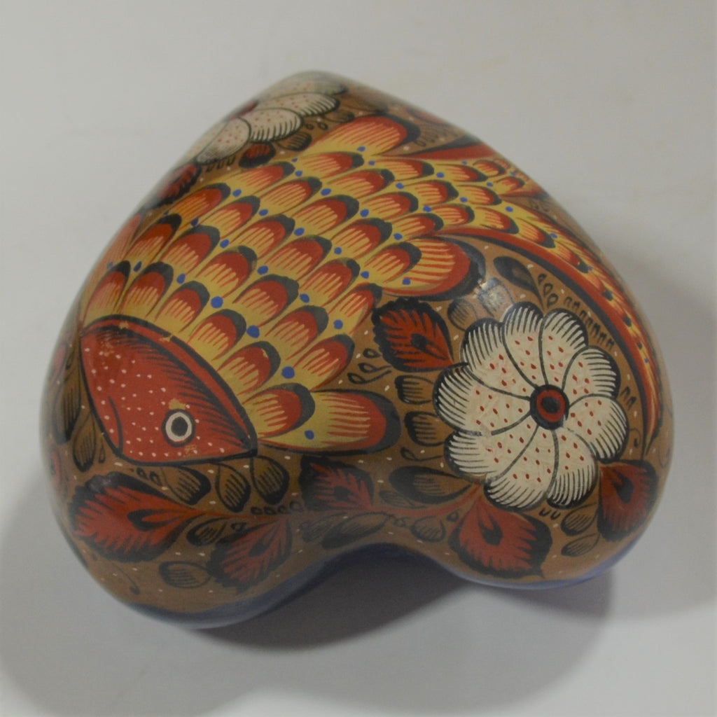 Marcario Covarrubias - Small Red Bowl with Flower and Hummingbird