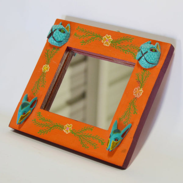 Martin Xuana - Orange Mirror with Carved Oaxacan Animals