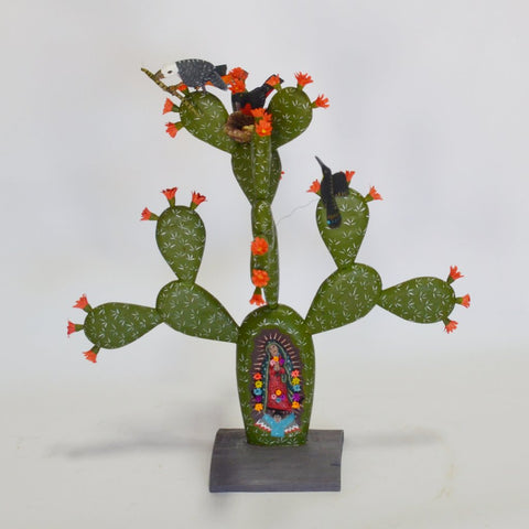 Gabino Reyes - Hand Carved Nopal with Virgin