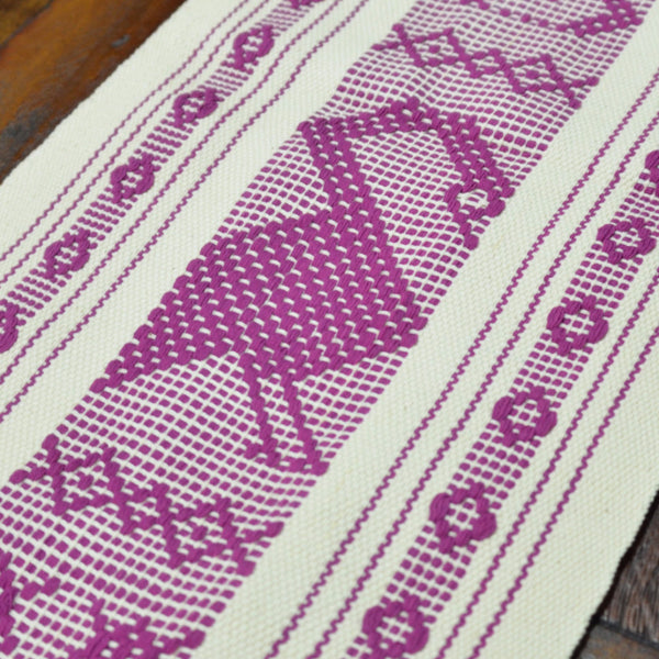 Textiles - Santo Tomas Long Runner in Natural with Purple