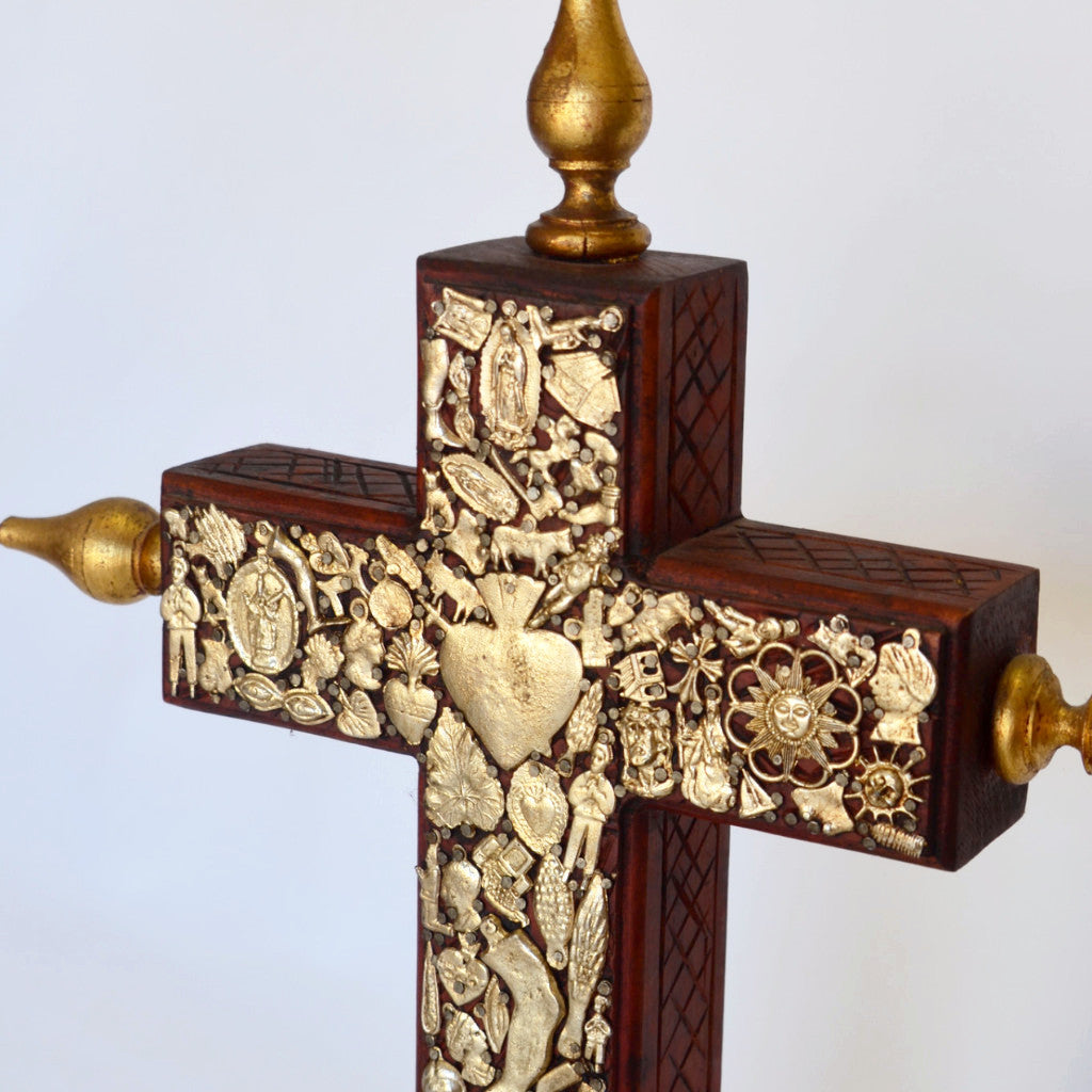Joaquin Garnica - Wood Cross with Milagros