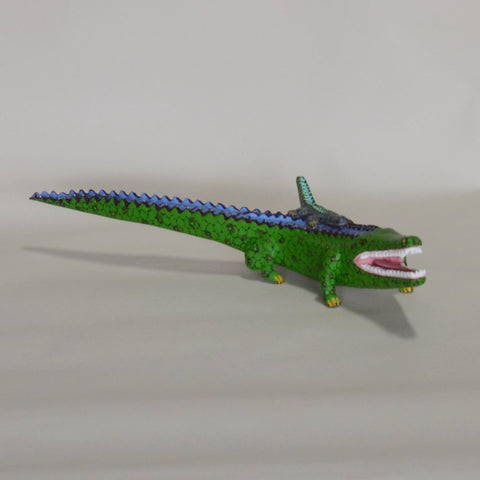 Gabino Reyes - Hand Carved Oaxacan Crocodile with Baby