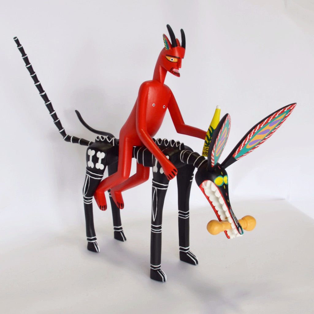 Adrian Xuana - Oaxacan Carved Devil Riding a Skeleton Dog