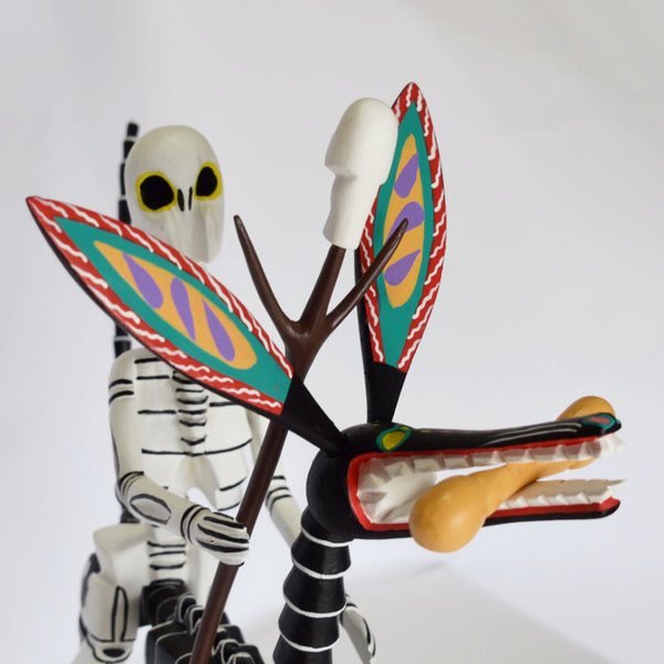Adrian Xuana - Oaxacan Carved Wood Skeleton Riding Skeleton Dog