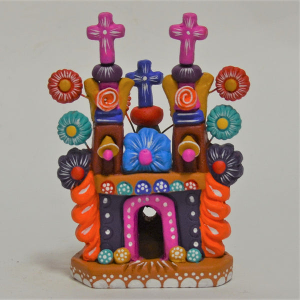 Javier Ramirez - Small Folk Art Ceramic Church with Purple Facade