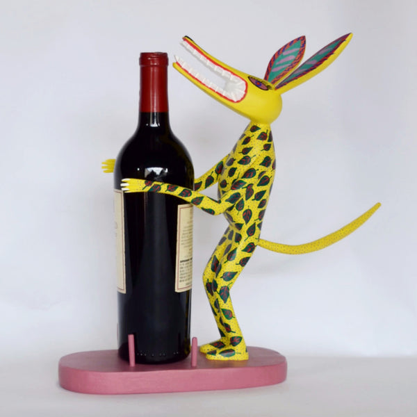 Adrian Xuana - Oaxacan Carved Wood Yellow Wolf Bottle Holder