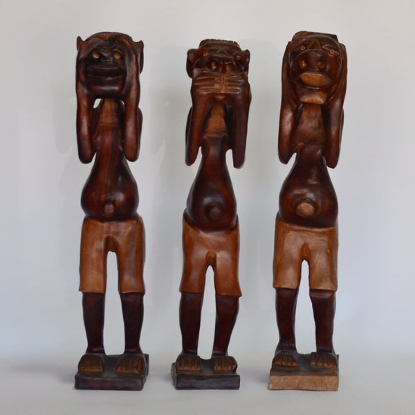 Wood - Cuban See No Evil Hand Carved Trio