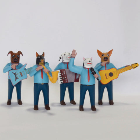 Avelino Perez Muñoz - Carved Oaxaca Blue Dog Band