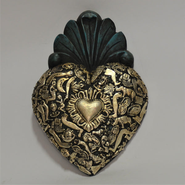 Joaquin Garnica - Rustic Green Sacred Heart with Milagros