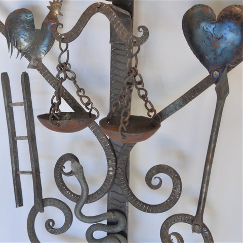 Joaquin Garnica - Colonial Carved Cross in Purple with a Sacred Heart
