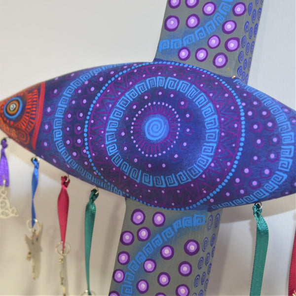 Jacobo & Maria Angeles - Small Carved Fish Cross with Milagros