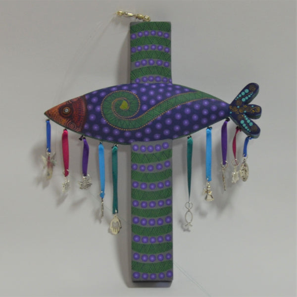 Jacobo & Maria Angeles - Small Carved Fish Cross with Milagros in Purple & Green