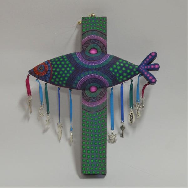 Jacobo & Maria Angeles - Small Carved Fish Cross with Milagros in Green, Purple & Pink