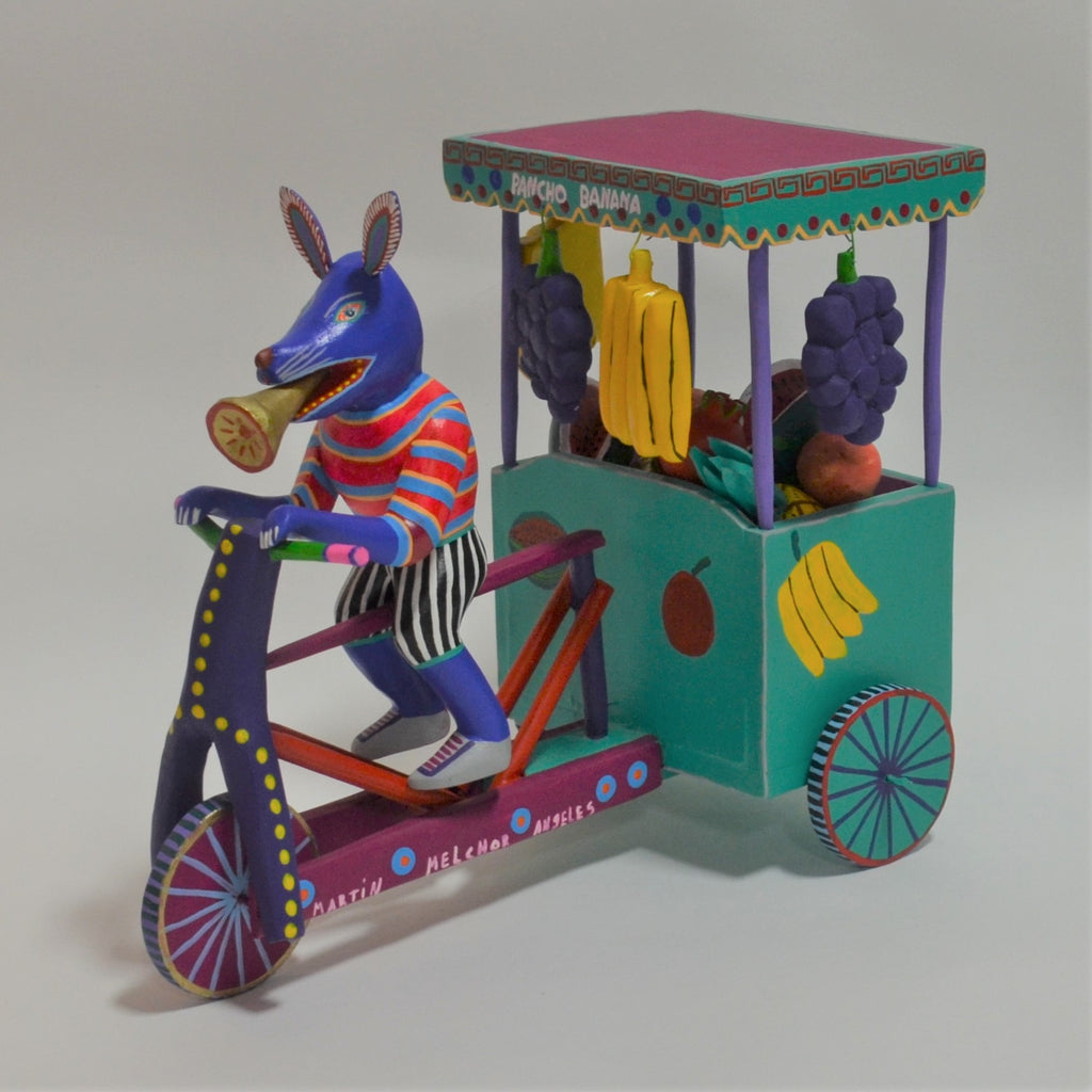 Martin Melchor - Oaxacan Carved Fruit Cart with Dog