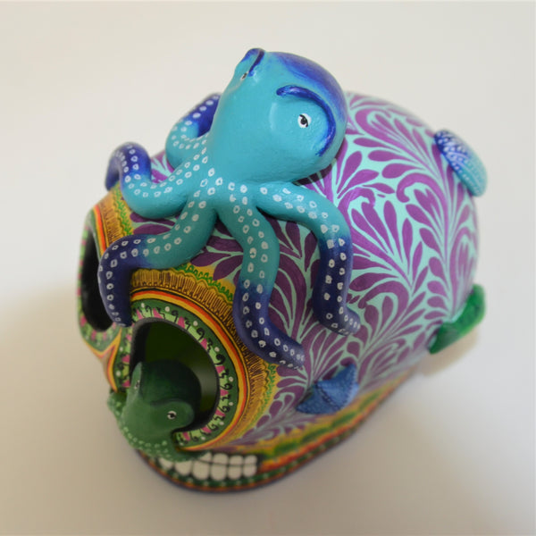 Daniel Paredes - Mexican Folk Art Skull with Octopus