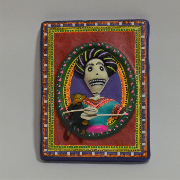Daniel Paredes - Clay Folk Art Plaque with Frida and Her Monkey