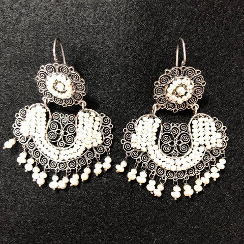 Jewelry - Mexican Silver Filigre Earrings with Pearls