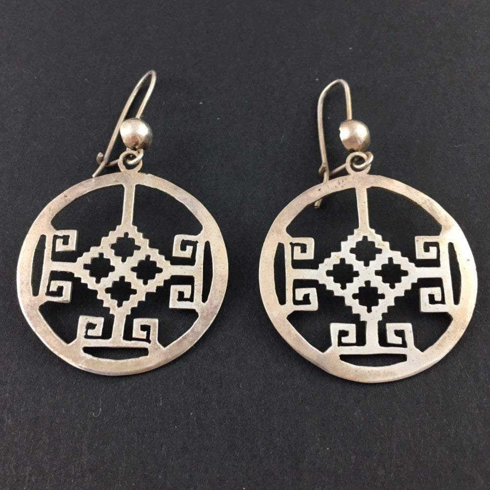 Jewelry - Mexican Silver Earrings with Pre-Hispanic Imagery