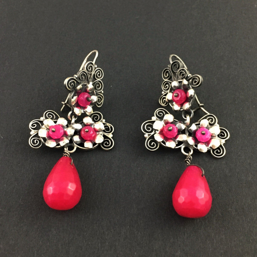 Jewelry - Mexican Silver Filigree Earrings with Rose Colored Stones