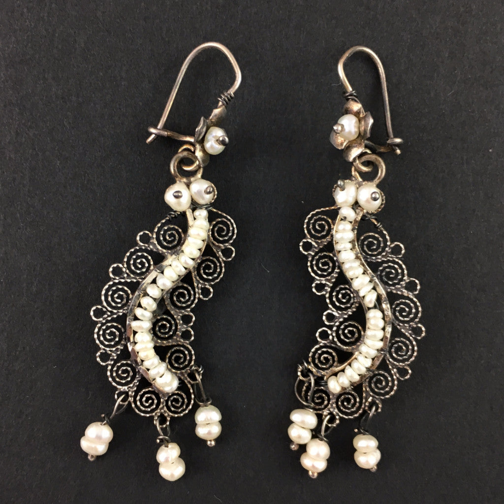 Jewelry - Mexican Silver Filigree Earrings with Fresh Water Pearls