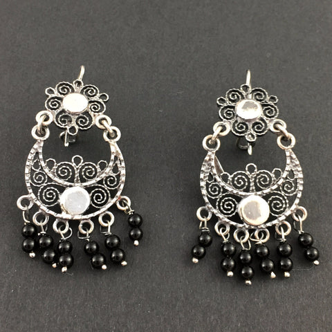 Jewelry - Mexican Silver Filigree Earrings with Onyx