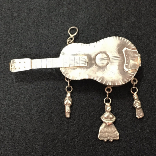 "Jewelry -  Antique Guatemala ""Guitar"" Guardapelo"