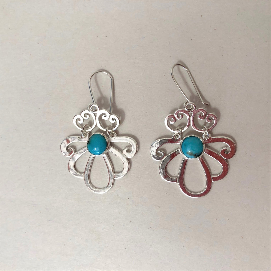 Jewelry - Hand Crafted Mexican Silver Earrings with Turquoise
