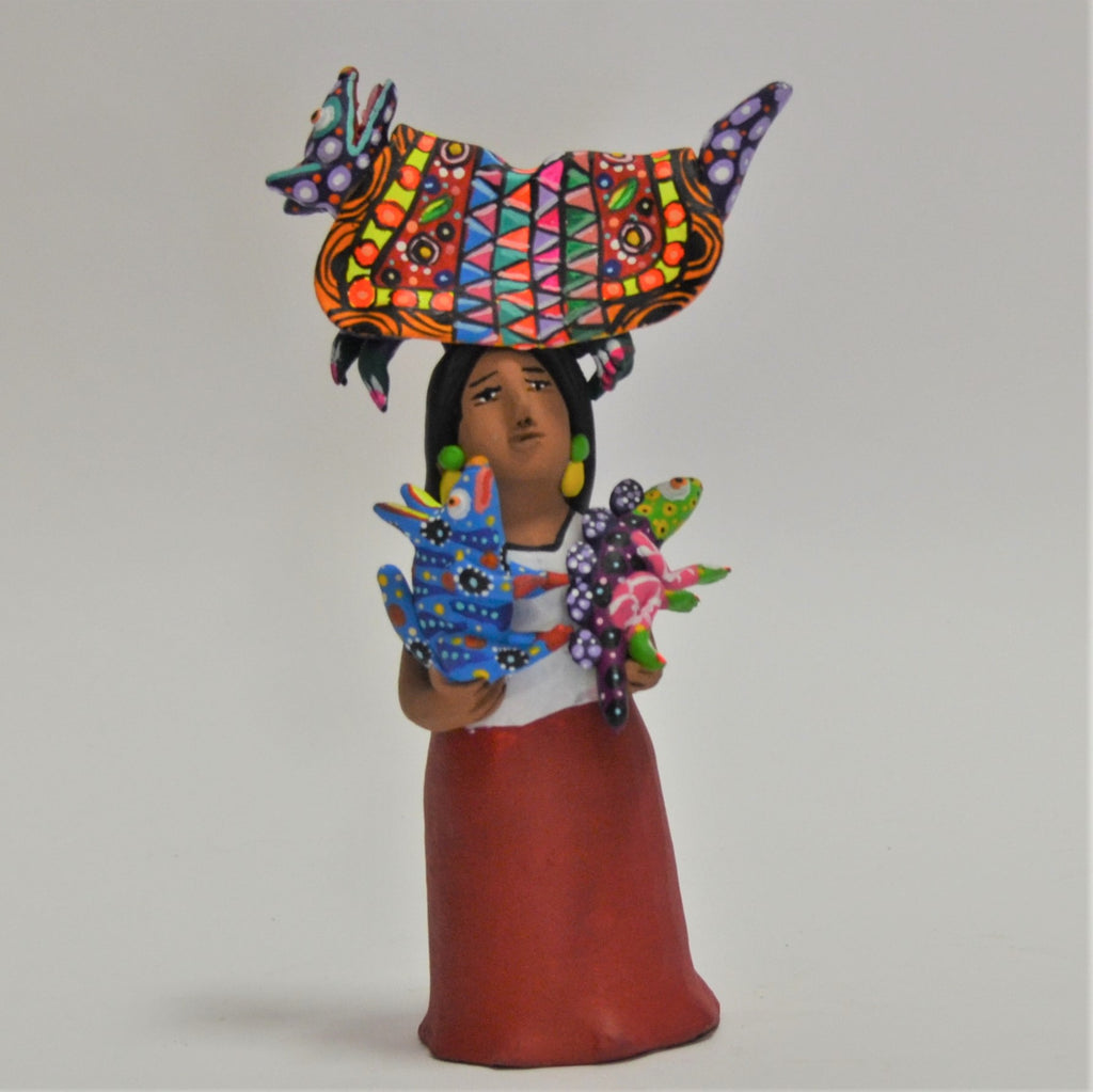 Aguilar Sisters - Market Woman with Cat Alebrije