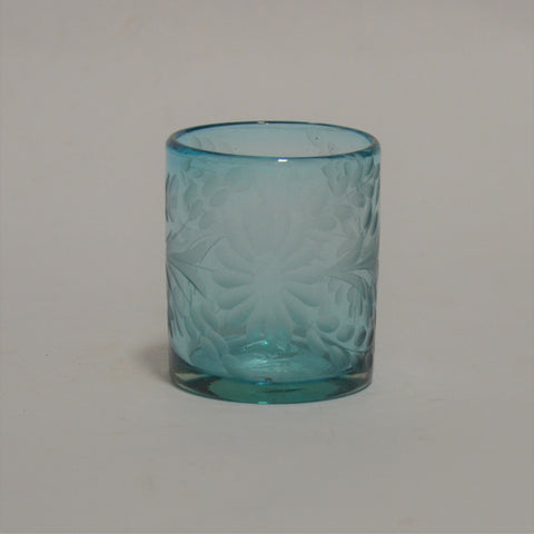 Hand Blown and Etched Turquoise Glass - Old-Fashioned Glass